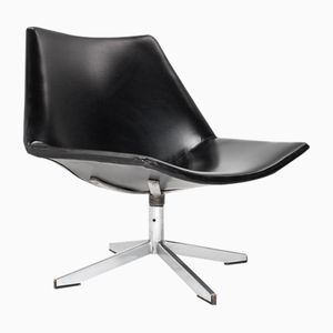 AP 19 Black Leatherette Lounge Chair by Salomonson & Tempelman for AP Polak, 1960s