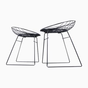 Black Metal Wire Stools by Cees Braakman for Pastoe, 1950s, Set of 2