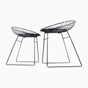 Schwarze Metalldraht Stühle von Cees Braakman für Pastoe, 1950er, 2er Set