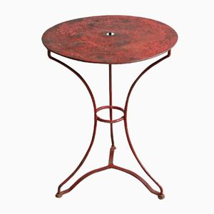 Small French Red Wrought Iron Garden Table with Metal Top, 1910s