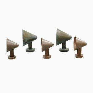 Mid-Century Scandinavian Copper Outdoor Cone Wall Lamps, Set of 5