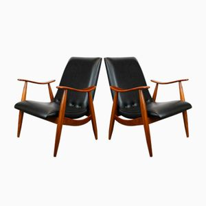 Mid-Century Teak Lounge Chairs by Louis van Teeffelen for Webe, Set of 2