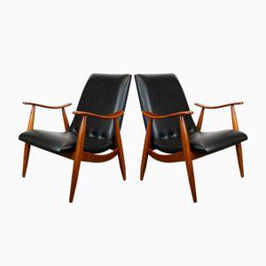 Mid-Century Teak Lounge Chairs by Louis van Teeffelen for Webe, Set of 2