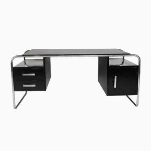 Schwarz Lackierter Vintage Art Deco Schreibtisch im Bauhaus Stil aus Chrom