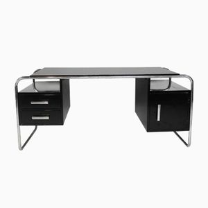 Vintage Art Deco Bauhaus Style Desk in Black Lacquer and Chrome