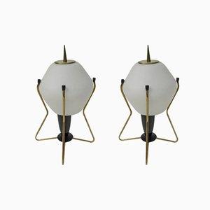 Italienische Nachttischlampen aus Messing, Milchglas & Bakelit, 1950er, 2er Set