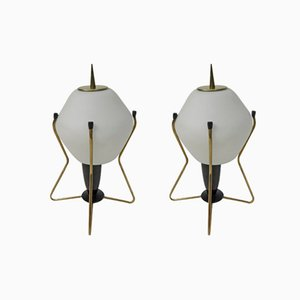 Lampade da notte in ottone, vetro satinato e bachelite, Italia, anni '50, set di 2