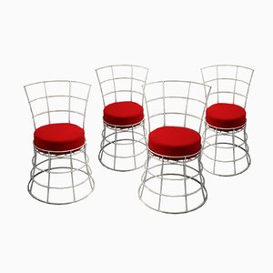 Mid-Century French Wire Garden Chairs, Set of 4