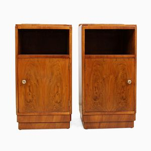 Art Deco Walnut Bedside Cupboards, Set of 2