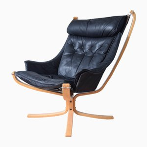 Black Winged Falcon Chair by Sigurd Ressell for Vatne Møbler, 1970s