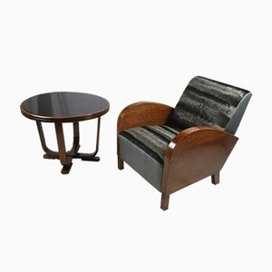 Mid-Century Custom Made Armchair & Coffee Table