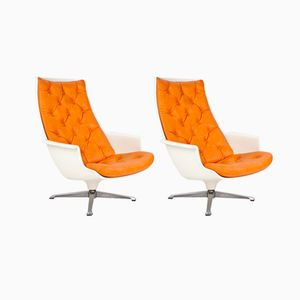 Swedish Swivel Lounge Chairs, 1970s, Set of 2