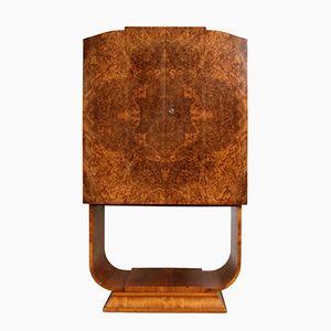 Art Deco Barschrank aus Wurzelholz & Walnuss von Hille