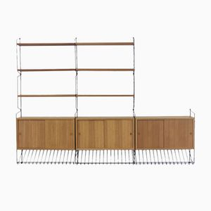 Mid-Century Wall Unit with Three Cabinets & Six Shelves by Nisse Strinning for String