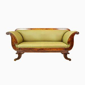 Antique Regency Mahogany & Beech Scroll Sofa