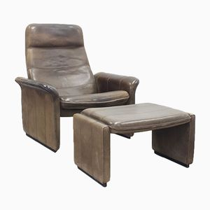 Vintage DS 50 Brown Neck Leather Armchair & Ottoman from de Sede