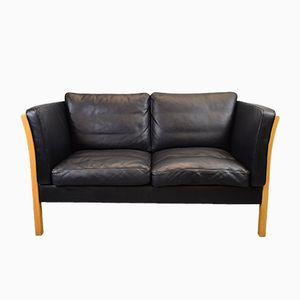 Mid-Century Danish Black Leather 2 Seater Sofa from Stouby, 1970s