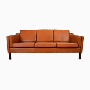 Mid-Century Danish Tan Leather 3 Seater Sofa by Vemb Polstermøbelfabrik