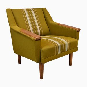 Mid-Century Vintage Danish Green Wool & Oak Lounge Armchair