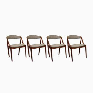 Dänische Mid-Century Modell 31 Esszimmerstühle aus Teak & Wolle von Kai Kristiansen für Schou Andersen, 4er Set