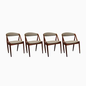 Mid-Century Danish Model 31 Teak & Wool Dining Chairs by Kai Kristiansen for Schou Andersen, Set of 4