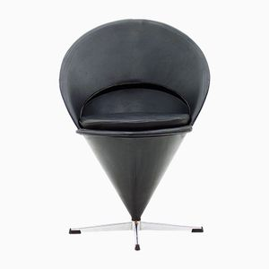 Leather Cone Chair by Verner Panton for Gebrüder Nehl, 1960s