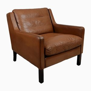Mid-Century Danish Brown Leather Armchair by Georg Thams