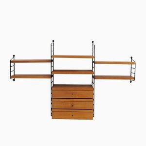 Unità di mensole da parete con tre cassetti vintage in legno di ciliegio di Nisse Strinning per String, Svezia