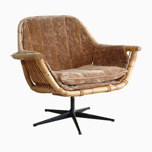 Mid-Century Bamboo Swivel Chair