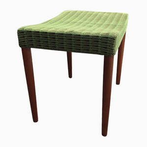 Mid-Century Teak & Green Wool Ottoman by Omann Junior, 1960s