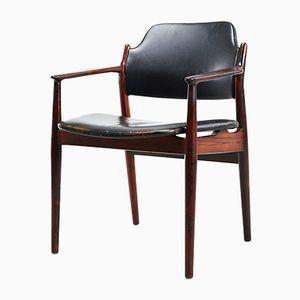 Modell 62A Armlehnstuhl aus Palisander & Schwarzem Leder von Arne Vodder für Sibast, 1960er
