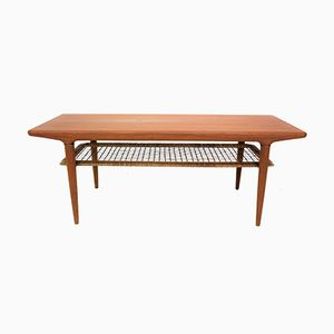 Danish Teak and Rattan Coffee Table, 1960s