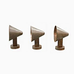 Mid-Century Scandinavian Copper Outdoor Cone Wall Lamps, Set of 3