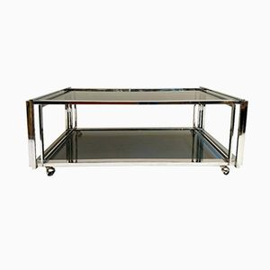 Mid-Century Coffee Table in Chrome and Smoked Glass