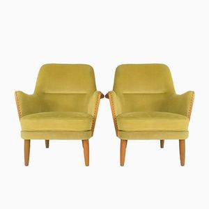 Vintage Beech and Velvet Lounge Chairs, 1960s, Set of 2