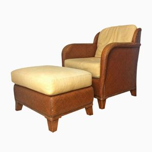 Rattan Lounge Chair with Footstool from Mehitabel, 1950s