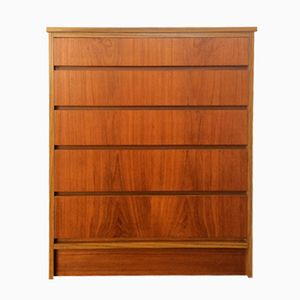Mid-Century Teak Five-Drawer Tallboy, 1960s