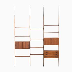 Italian Rosewood Floor to Ceiling Wall Unit, 1950s