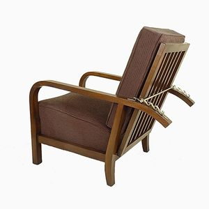 Vintage Art Deco Oak Armchair, 1930s