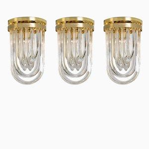 Vintage Deckenlampen aus Gebogenem Murano Glas & Vergoldetem Messing von Venini, 3er Set