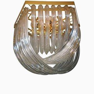 Gebogene Vintage Murano Glas Deckenlampe von Venini