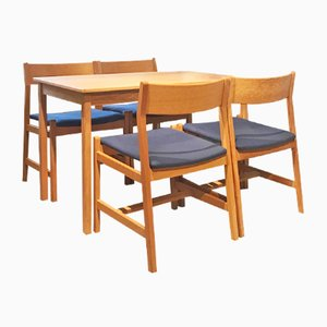 Dänischer Vintage Teak Esstisch mit Vier Stühlen von Børge Mogensen für Fredericia