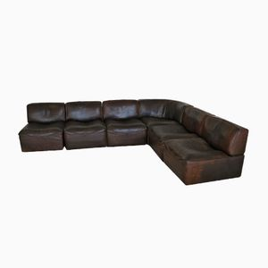DS15 Seating Group in Brown Leather from de Sede, 1970s