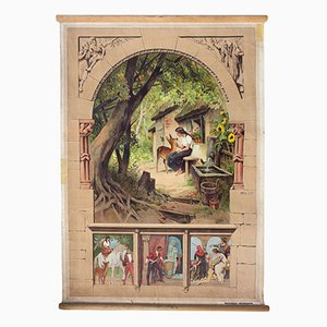 Lithograph Fairy Tale Little Brother & Little Sister Wall Chart by Paul Hey, 1939