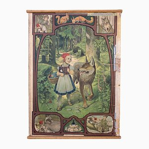 Lithograph Fairy Tale Little Red Riding Hood Wall Chart by Paul Hey, 1939