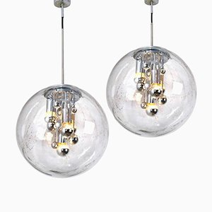 Large Handblown Bubble Glass Pendant Lights from Doria, 1970s, Set of 2