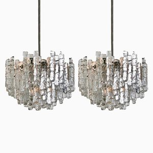 Lampadari grandi moderni in vetro satinato di J.T. Kalmar, anni '70, set di 2