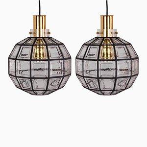 Grands Luminaires en Fer et Verre Transparent par Glashütte Limburg, 1965, Set de 2