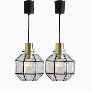 Iron & Clear Glass Pendant Lights from Glashütte Limburg, 1960s, Set of 2