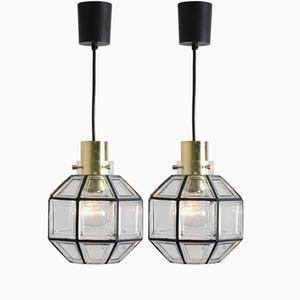 Lampade a sospensione in ferro e vetro chiaro di Glashutte Limburg, anni '60, set di 2